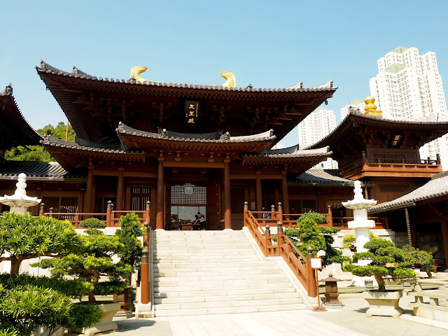 Buddhist temple of Chi Lin Nunnery in Nan Lian Gardens, Kowloon, Hong Kong