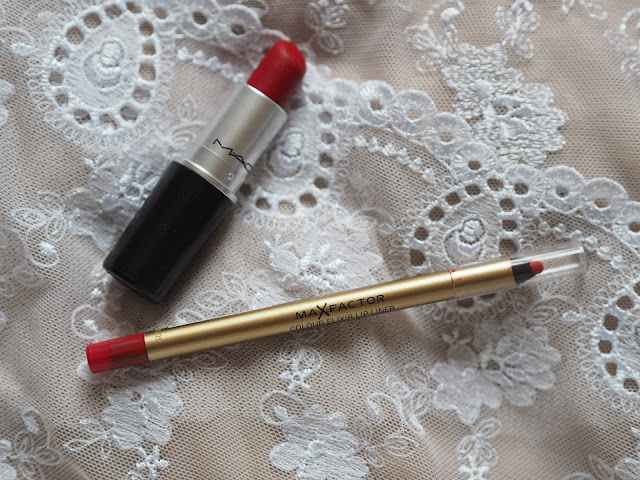 Mac Ruby Woo + MaxFactor Colour Elixir Lip Liner in 10 Red Rush