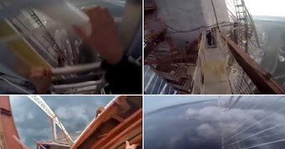Screen caps from the video footage of the two daredevils
