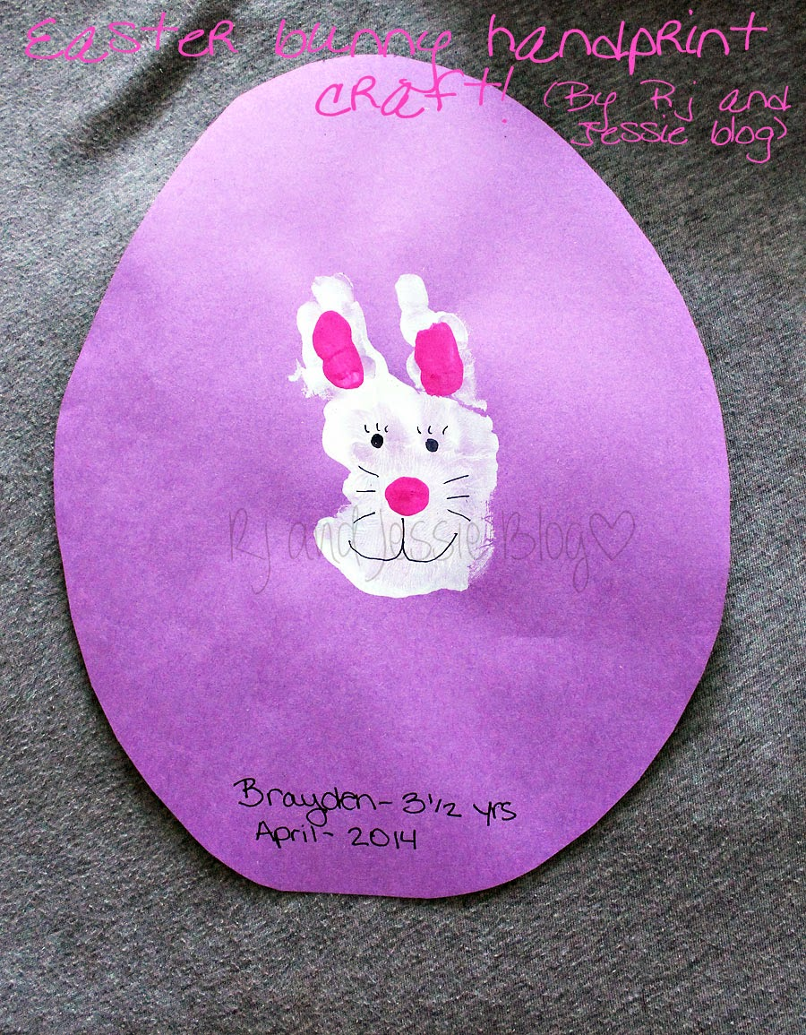 Rj and jessie easter craft bunny hand print i did not try this craft with lincoln because one year olds dont quite follow directions as well as three year olds i didnt think i would be able to negle Gallery