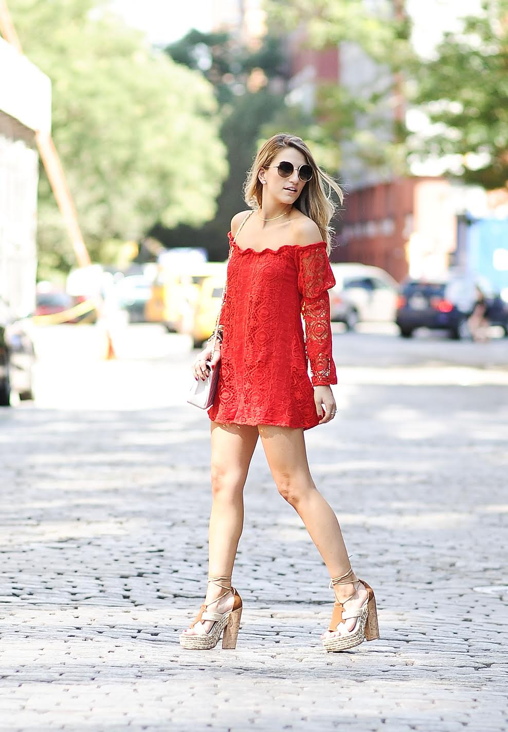 soho street style, off the shoulder dress