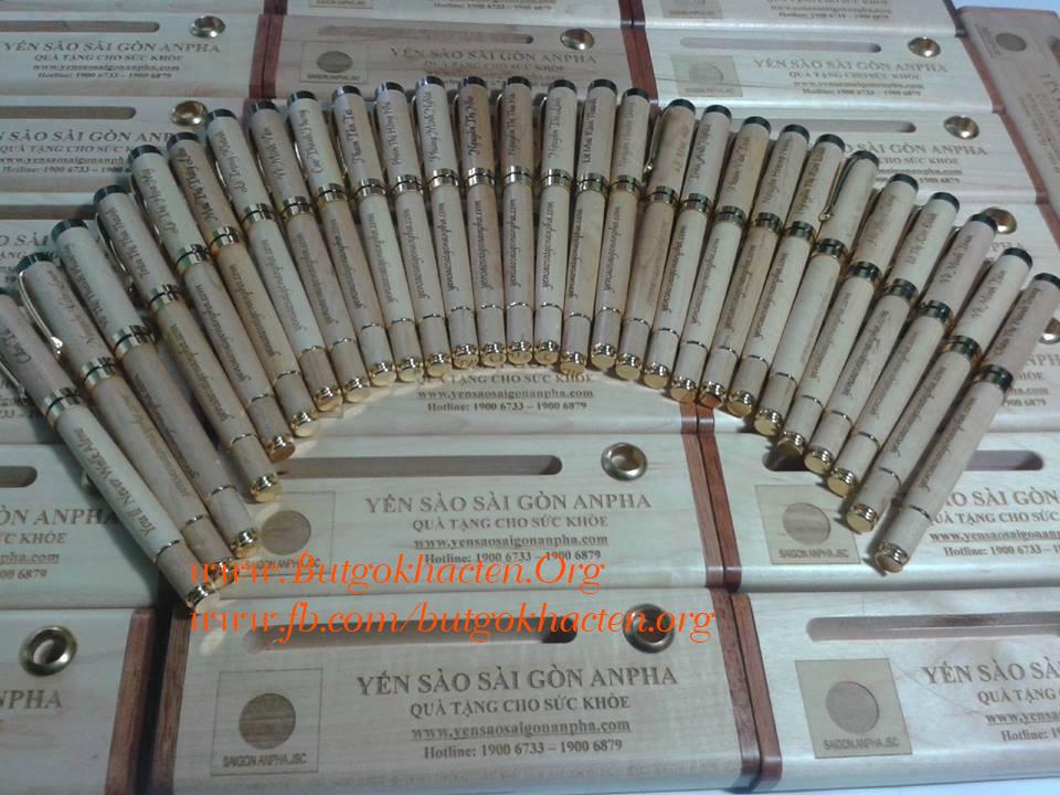Bút gỗ, quà tặng bút gỗ khắc tên, khắc chữ dành cho công ty, cơ quan