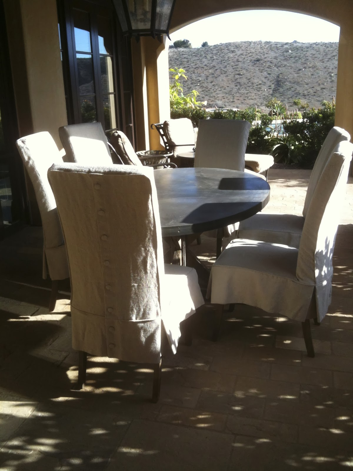 LINEN SLIPCOVERS   PARSONS CHAIRS