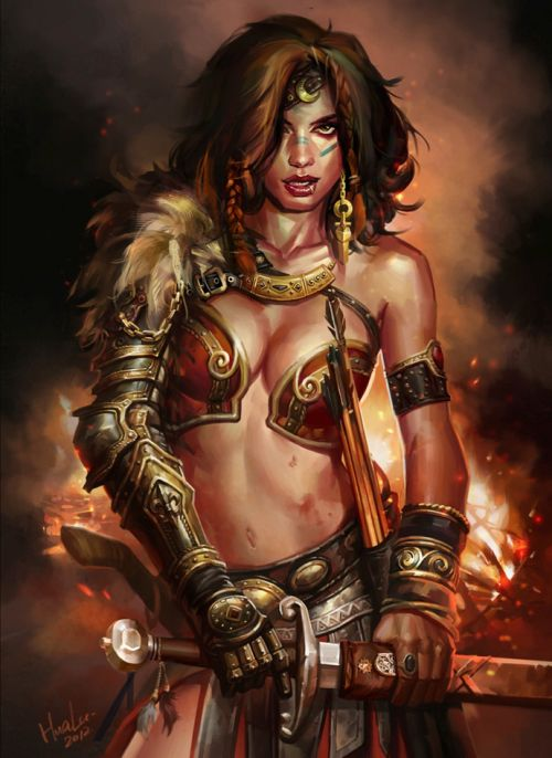 Lu Hua illustrations concept arts fantasy games Barbarian princess