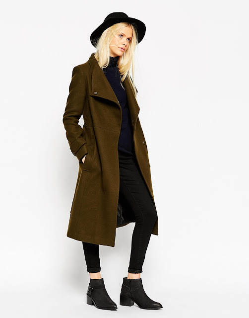 olive wool coat, belted maxi coat,