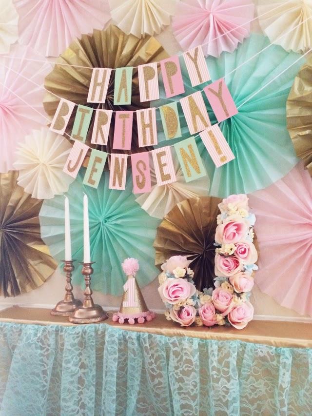 Happy Birthday Banner from scrapbook paper, diy flower letter