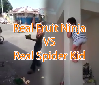 Real Fruit Ninja vs Real Spider Kid