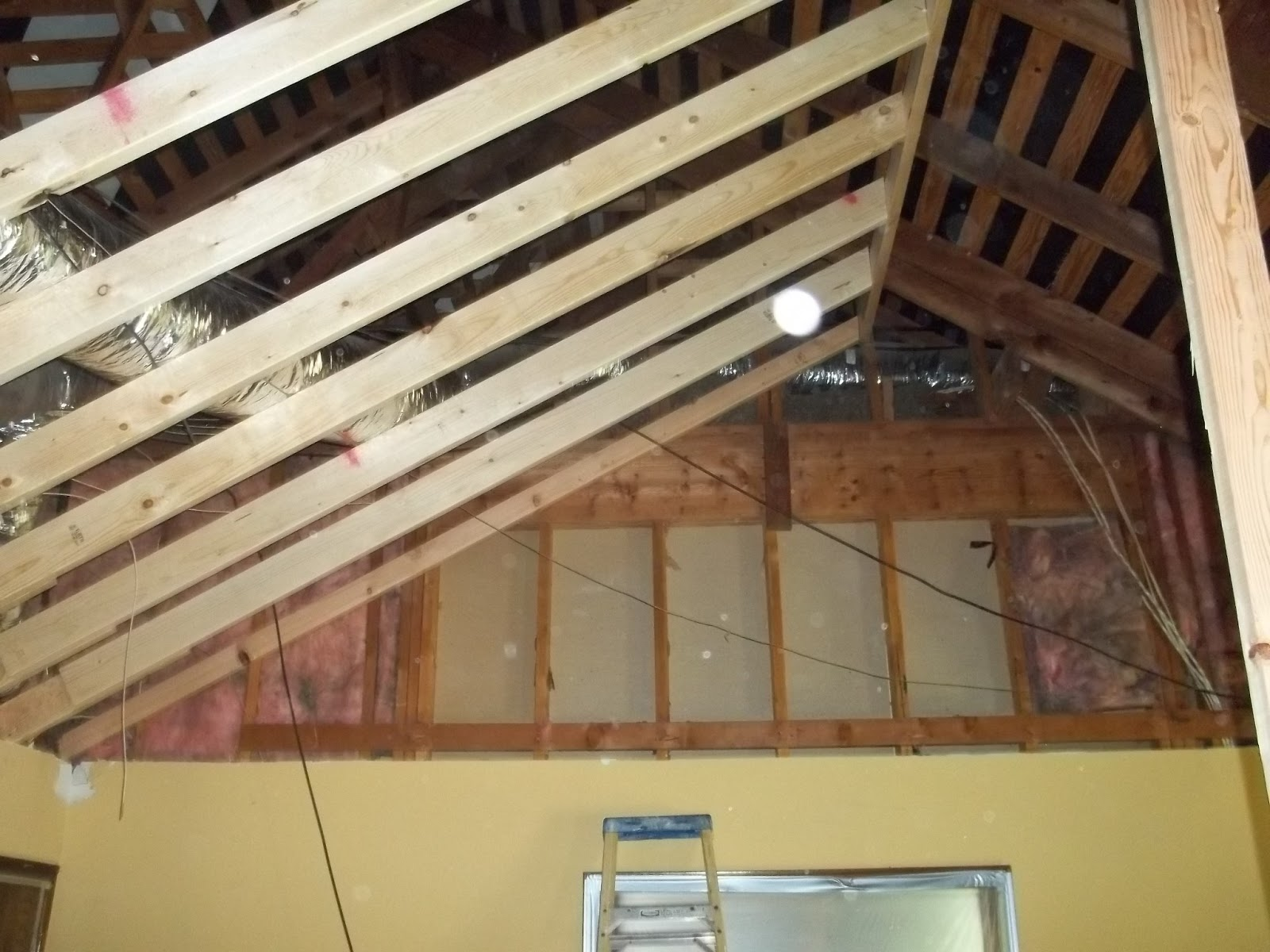 Building little dreams hip roof ceiling is gone and new for How to build a cathedral ceiling