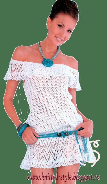 белая ажурная туника