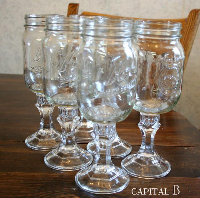 Capital B Mason Jar Wine Glasses Tutorial