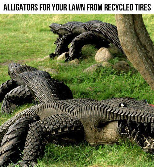 Josh 39 s blog alligators made from recycled tires for Alligator lawn decoration