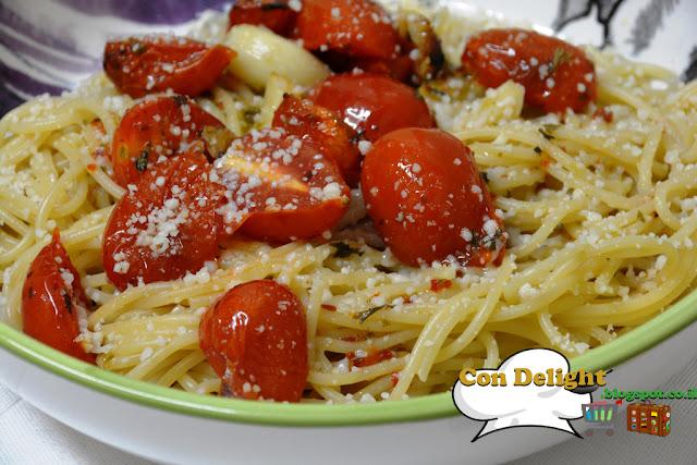 ספגטי עגבניות ושום  Garlic tomato spaghetti