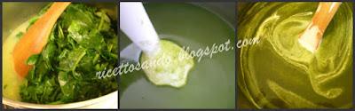 Vellutata di spinaci passiamo tutto col frullino e aggiungiamo la pnna