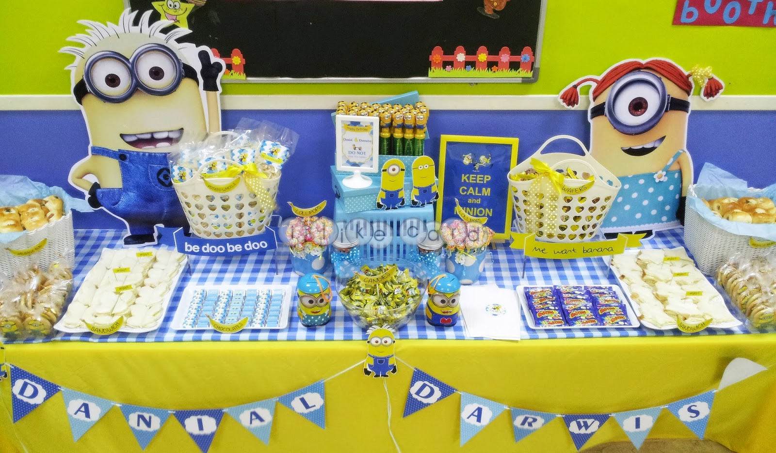minion themed candy buffet