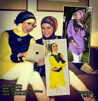 Katalog Busana Muslim Mazaya Kuning kenari Ungu sedang
