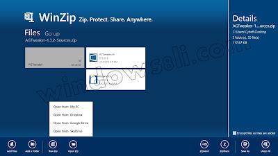 Windows 8 Winzip Uygulaması