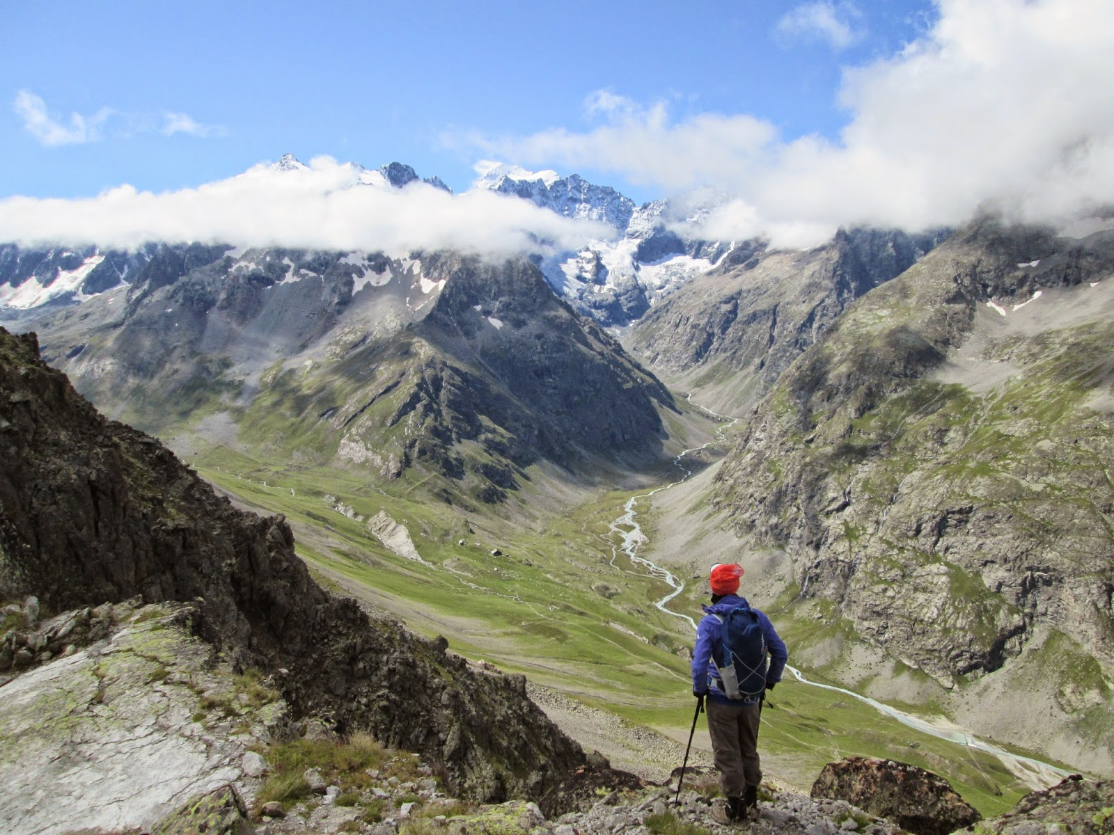 Looking into the Ecrins National Park from the Col du Combeynot, Alps France