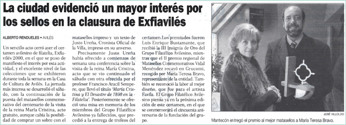 Exfiaviles 2000, premio Vidal Menéndez