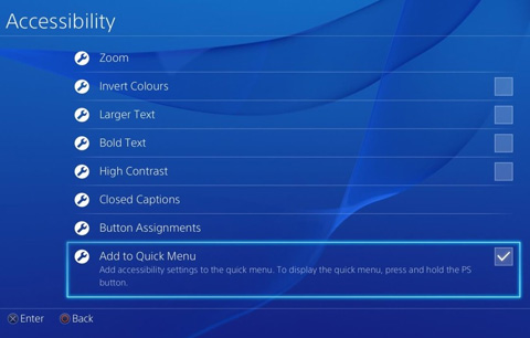 PS4 Accessibility features.
