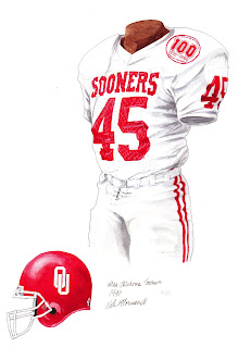 1990 University of Oklahoma Sooners football uniform original art for sale