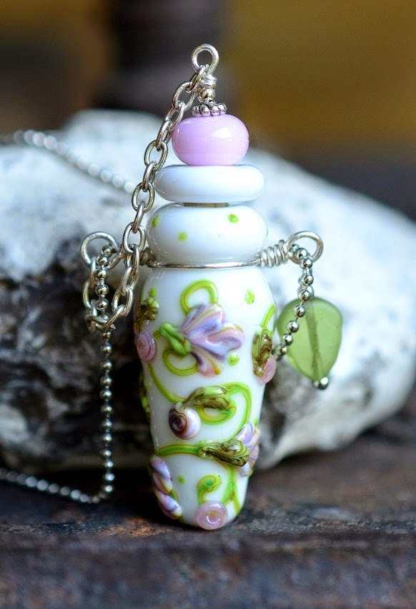 handmade lampwork beads perfume bottle vessel