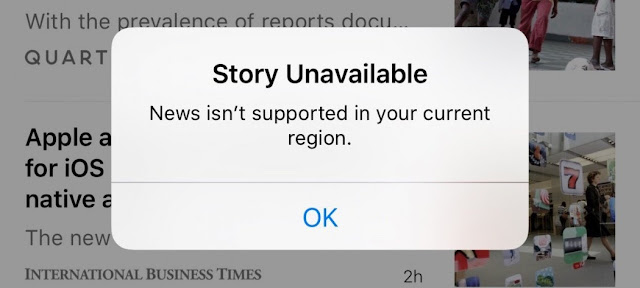 News app from apple restricted in china