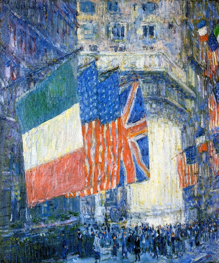 Childe+Hassam+1859-1935+-+American+painter+-+Avenue+of+the+Allies+1918+-+The+Impressionist+Flags++%285%29
