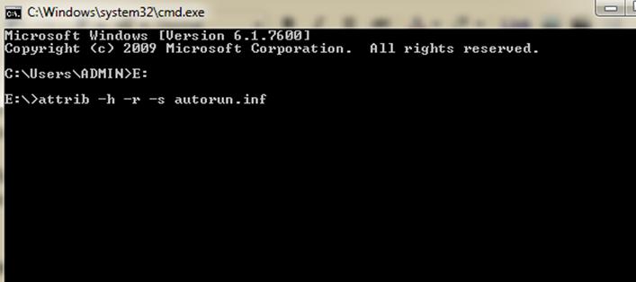 Supprimé Virus Autorun de votre Flash Drive / Clé USB à l'aide d'invite de commandes