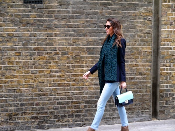 Navy and blue casual look in London