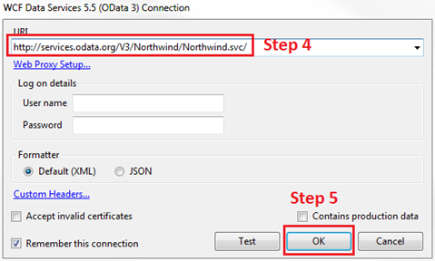 how to add wcf data services connection in linqpad
