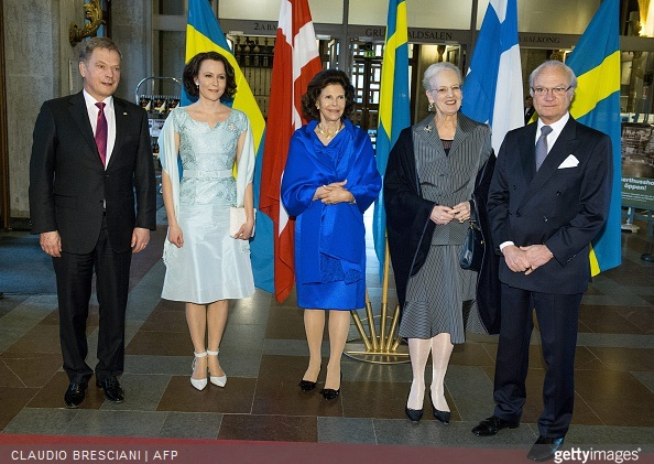 Finland's President Sauli Niinisto, Jenni Haukio, Queen Silvia of Sweden, Queen Margrethe of Denmark and King Carl Gustaf of Sweden pose at Stockholm Concert Hall