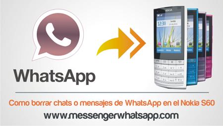 Como borrar chats o mensajes de WhatsApp en el Nokia S60