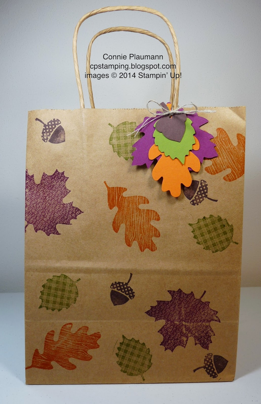 Creative possibilities autumn leaves gift bag