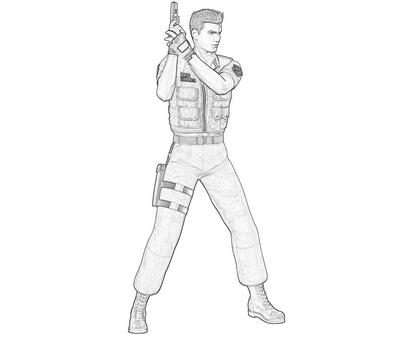 resident-evil-chris-redfield-skill-coloring-pages