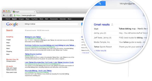 Gmail intégré dans les résultats de recherche Google