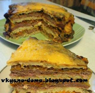 Капустно - мясной торт