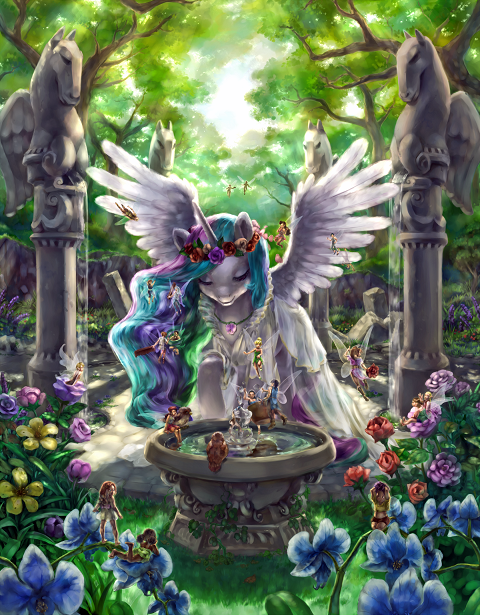 Celestia gets ready for a celebration with the help of some fairies