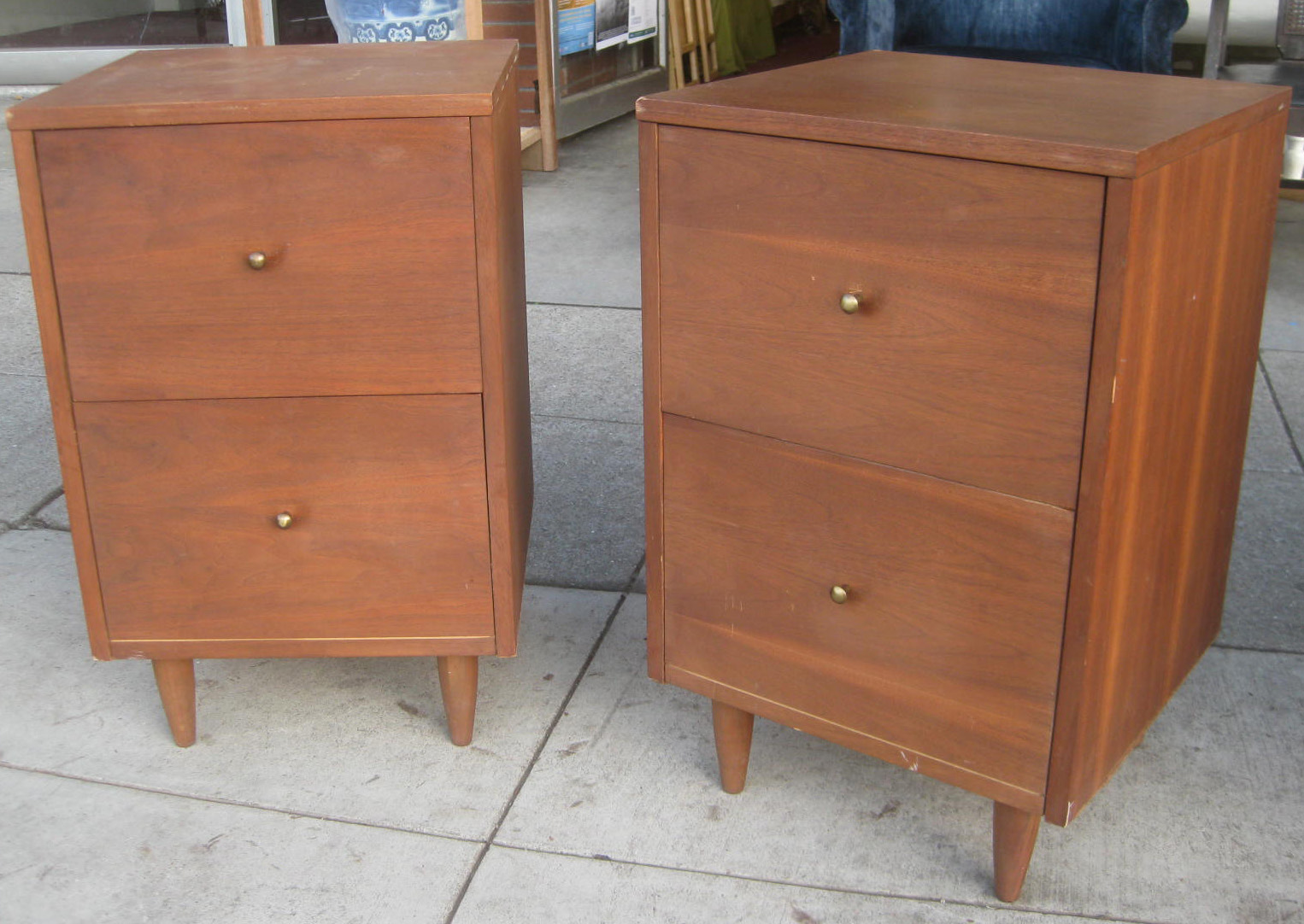 SOLD - Pair of Old Wooden File Cabinets - $25 each - UHURU FURNITURE & COLLECTIBLES: SOLD - Pair Of Old Wooden File
