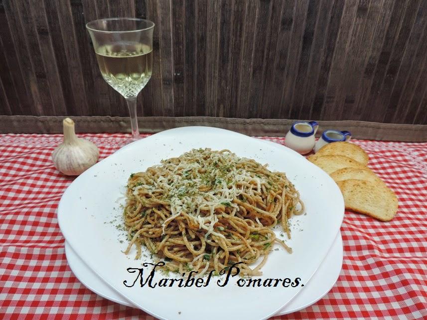 Cocinando con maribel espaguetis integrales con ajo y for Espaguetis con ajo y perejil