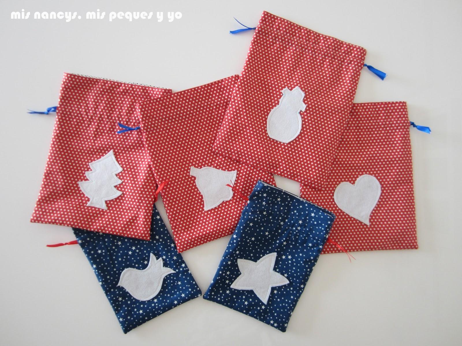 mis nancys, mis peques y yo, tutorial bolsitas de Navidad reversibles, bolsas con adornos