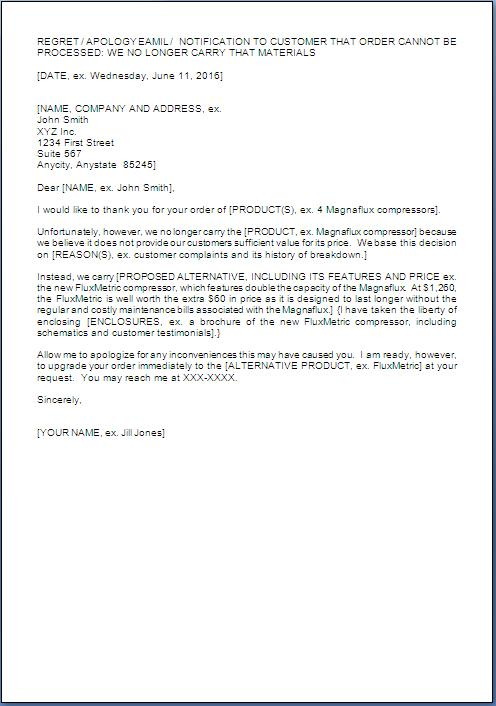 letter for non availability of product