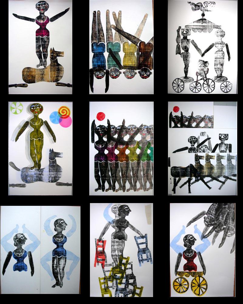 cirque - gravures sur bois de Brigitte Rio