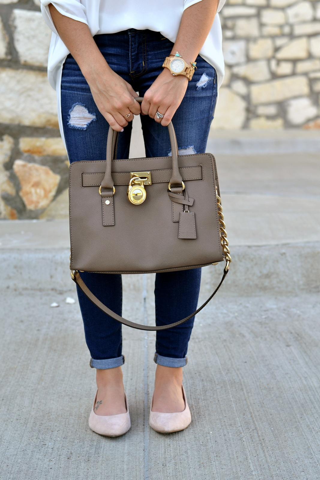 Michael Kors Bag and Nude flats