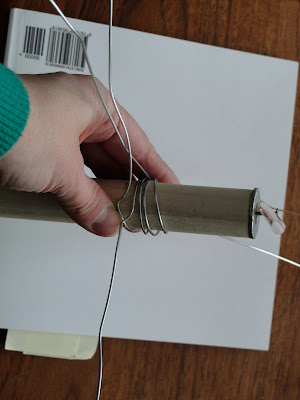 wire wrapped around wooden dowel for wind vane project