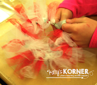 Student Craftivity ~ tying knots in tulle to make a cute wreath