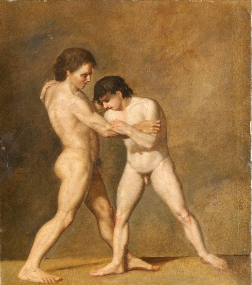 19th Century Italian School: Male Nude Wrestlers