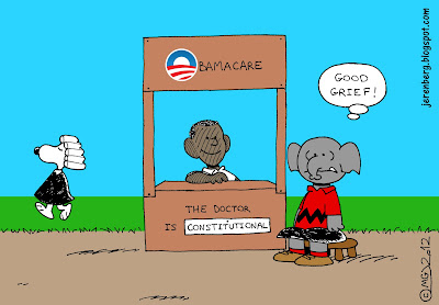 peanuts style drawing barack obama sitting behind obamacare booth smiling the doctor is constitutional gop republican elphant as charlie brown good grief snoopy wearing judge robe and wig