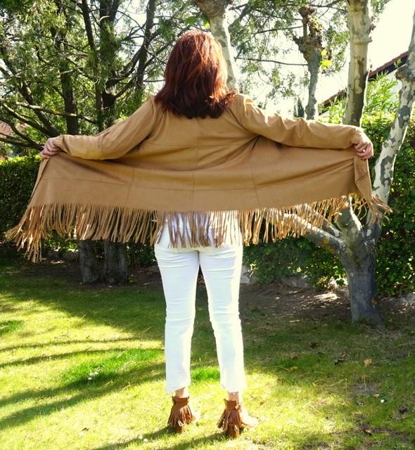kimono ante marrón flecos