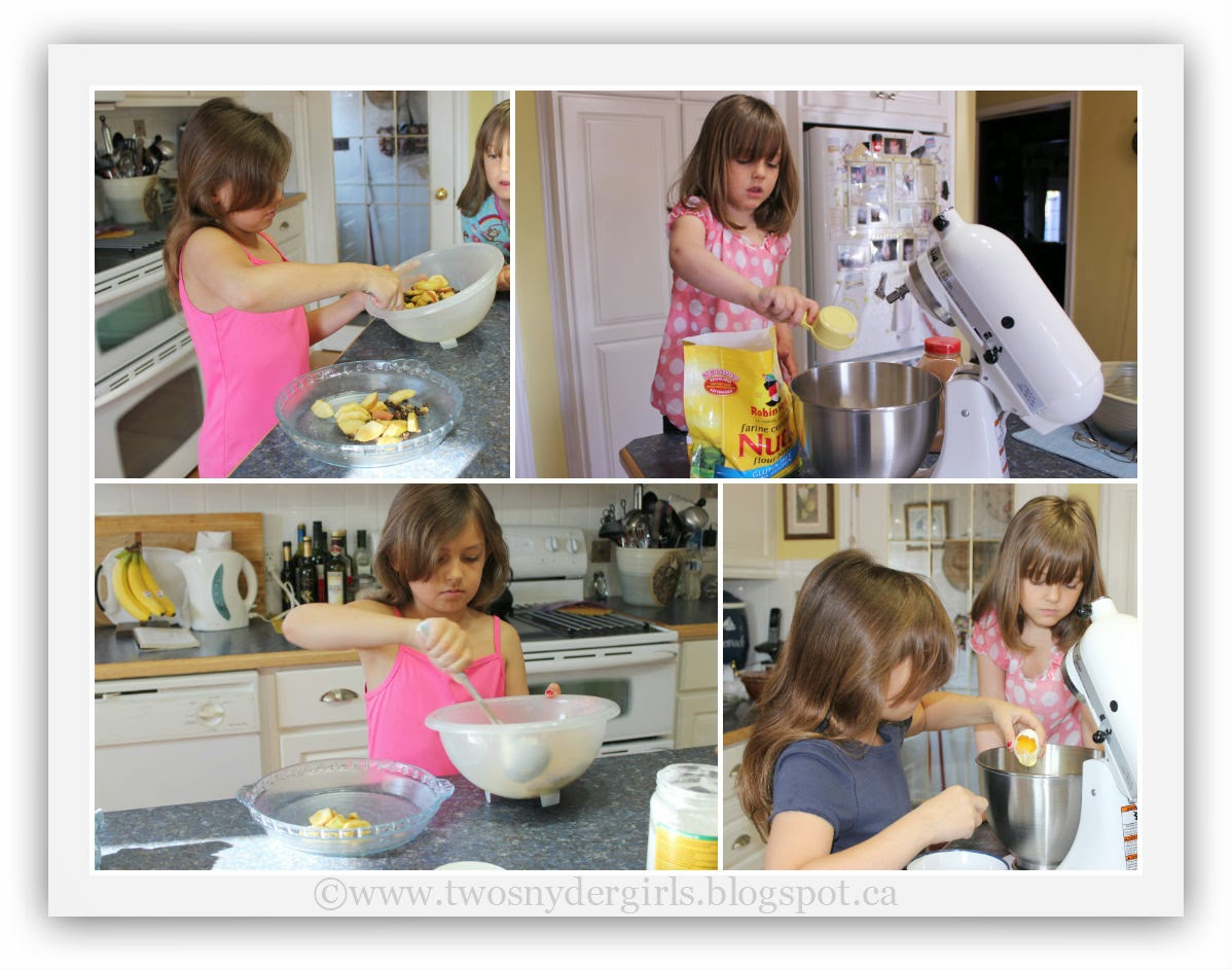 girls mixing raisin apple baked breakfast