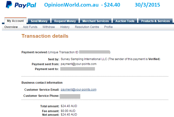Paypal payment for $24.40 from Opinion World for online surveys.